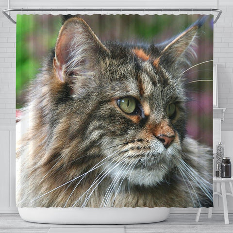 Amazing Maine Coon Cat Print Shower Curtains-Free Shipping