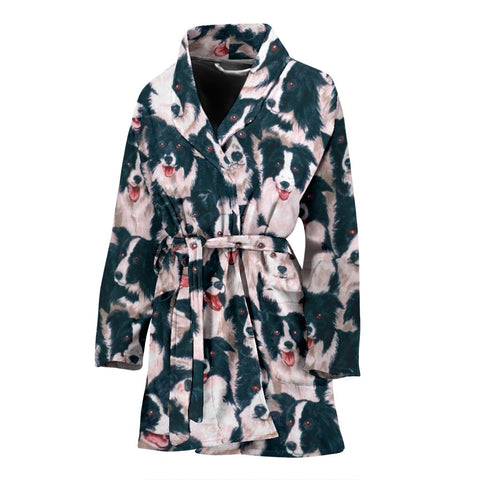 Border Collie Dog In Lots Print Women's Bath Robe-Free Shipping