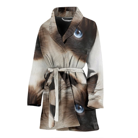 Himalayan cat Print Women's Bath Robe-Free Shipping