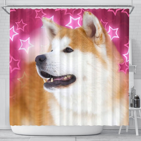 Akita On Pink Print Shower Curtains-Free Shipping