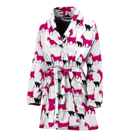 Amazing Walking Cats Print Women's Bath Robe-Free Shipping