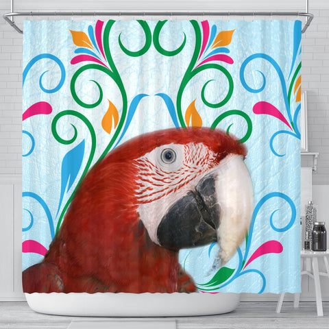 Red-and-green macaw Parrot Print Shower Curtain-Free Shipping