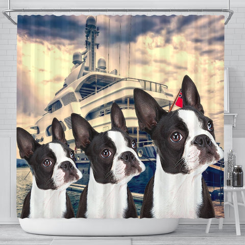 Boston Terrier Print Shower Curtains-Free Shipping
