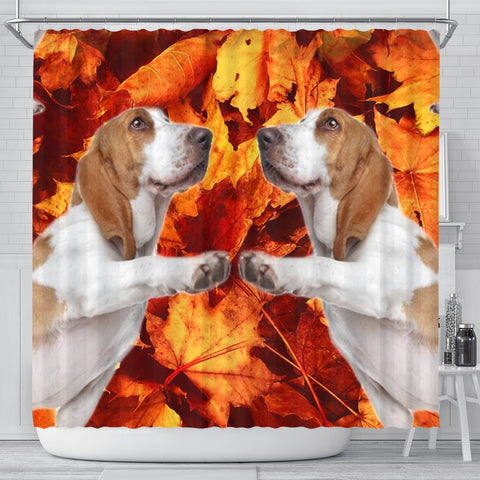 Basset Hound Print Shower Curtains-Free Shipping