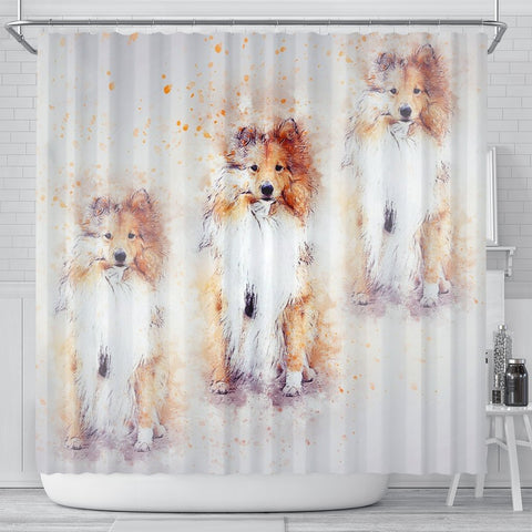 Shetland Sheepdog Art Print Shower Curtains-Free Shipping