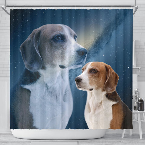 English Foxhound Print Shower Curtains-Free Shipping