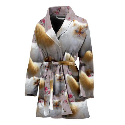 Lovely Himalayan Cat Print Women's Bath Robe-Free Shipping