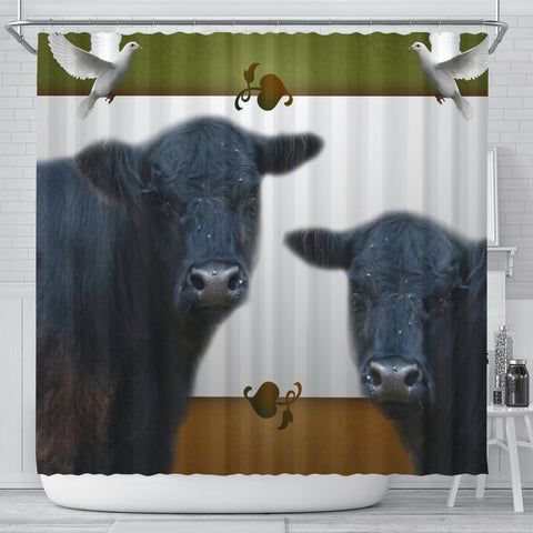 Galloway Cattle (Cow) Print Shower Curtain-Free Shipping