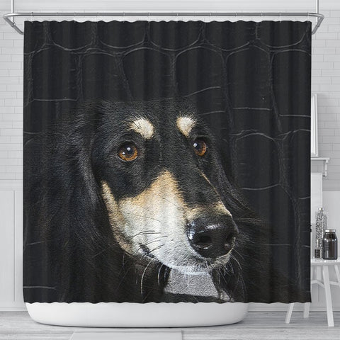 Black Saluki Dog Print Shower Curtain-Free Shipping