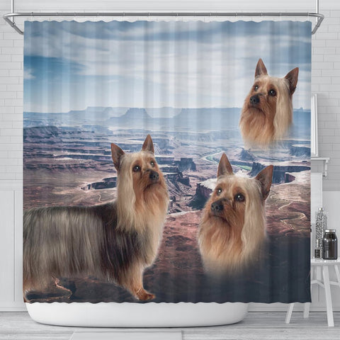 Cute Australian Silky Terrier Print Shower Curtains-Free Shipping