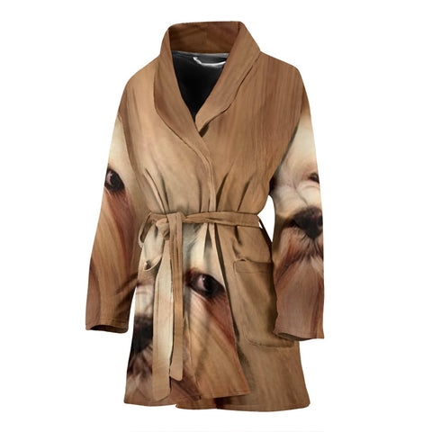 Lhasa Apso dog Print Women's Bath Robe-Free Shipping