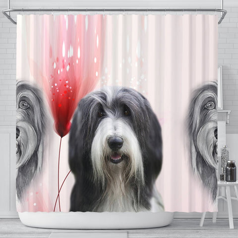 Bearded Collie Print Shower Curtain-Free Shipping