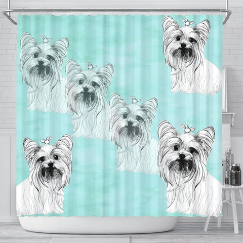 Yorkie Dog Sketch Print Shower Curtain-Free Shipping