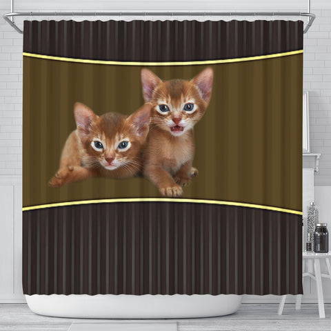 Abyssinian cat Print Shower Curtain-Free Shipping