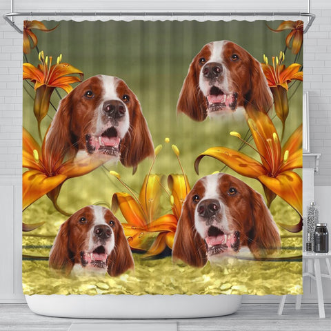 Amazing Irish Red And White Setter Print Shower Curtains-Free Shipping