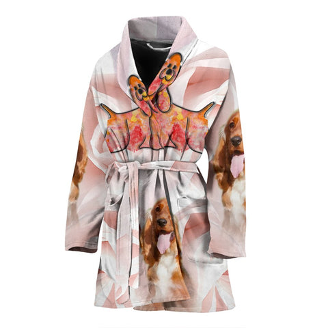 English Cocker Spaniel Print Women's Bath Robe-Free Shipping