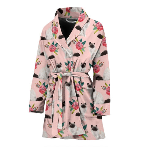 Birman Cat Floral Print Women's Bath Robe-Free Shipping