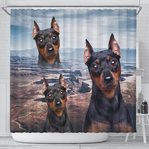Lovely Miniature Pinscher Print Shower Curtains-Free Shipping
