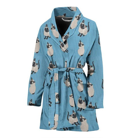 Siamese Cat Pattern Print Women's Bath Robe-Free Shipping