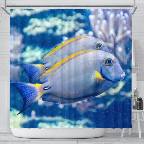 Grey And Yellow Tang Fish Print Shower Curtain-Free Shipping