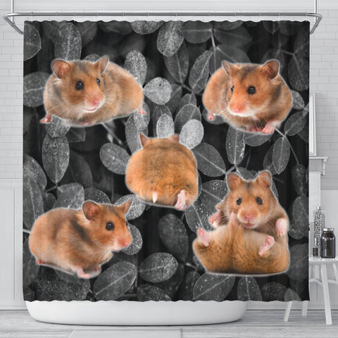 Djungarian Hamster On Black Print Shower Curtains-Free Shipping
