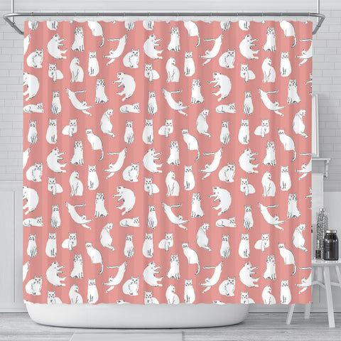 Persian Cat Pattern Print Shower Curtains-Free Shipping