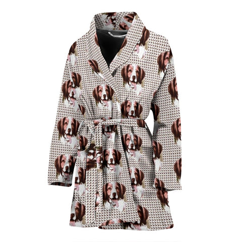 Brittany Dog Pattern Print Women's Bath Robe-Free Shipping