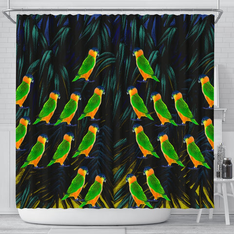 Caique Parrot Print Shower Curtains-Free Shipping