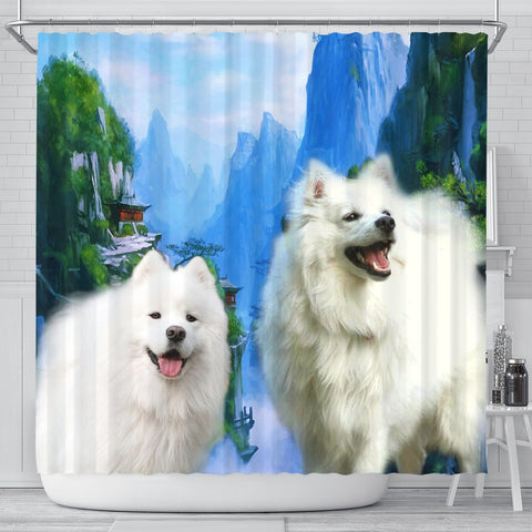 American Eskimo Print Shower Curtains-Free Shipping