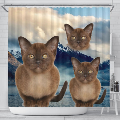 Burmese Cat Print Shower Curtains-Free Shipping