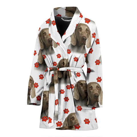 Weimaraner Dog Paw Patterns Print Women's Bath Robe-Free Shipping