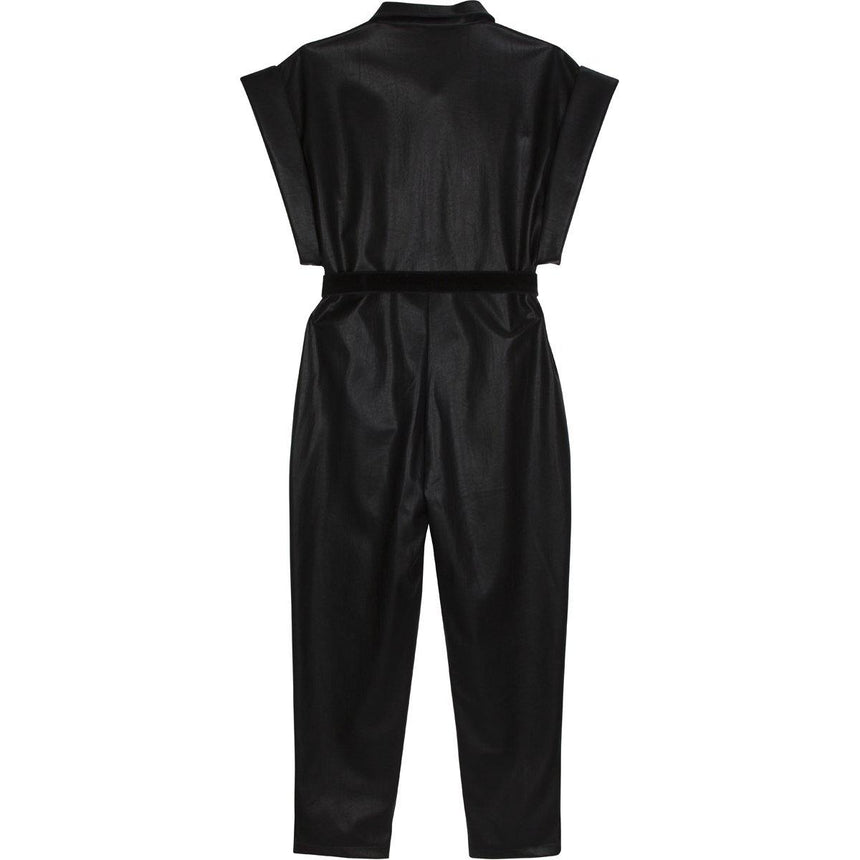 Belted Faux Leather Jumpsuit