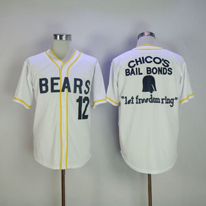 Stitched Bad News Bears Movie 1976 Chico's Bail Bonds WHITE Men Baseball Jersey  12 Tanner Boyle