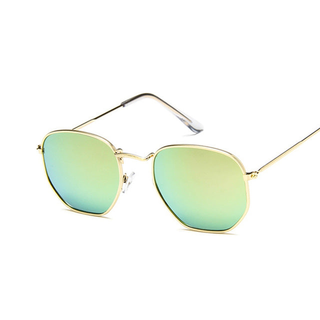 Vintage Square Sunglasses Pink Gold