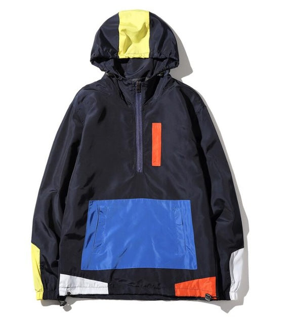Patchwork Windbreaker Hoodies.