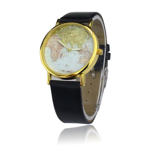 World map watches cases4use womens retro world map design leather alloy band quartz wrist watch gumiabroncs Choice Image