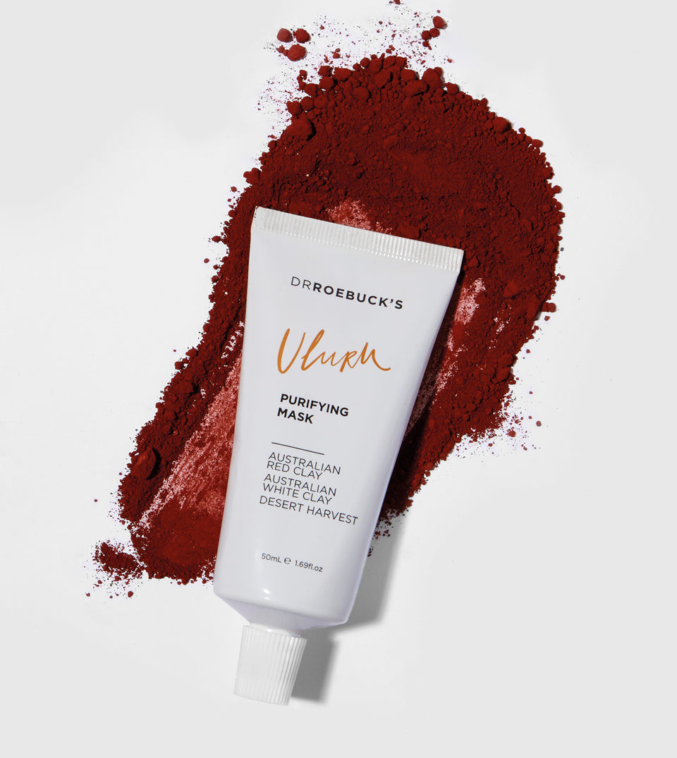 Dr Roebuck's Uluru purifying mask in tube with red powder