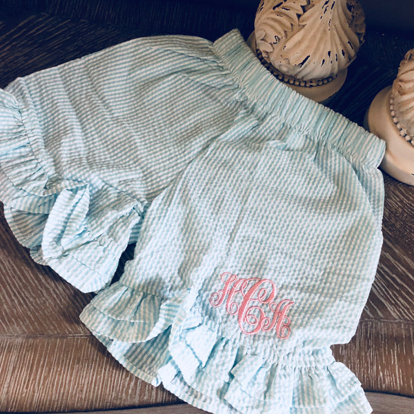 Monogrammed Seersucker Ruffle Shorts Toddler