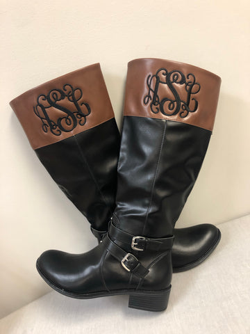 Monogrammed Women's Boots Two-Tone