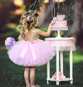 Pink and Gold Sequined Tutu Dress Birthday Photo Shoot Cake Smash