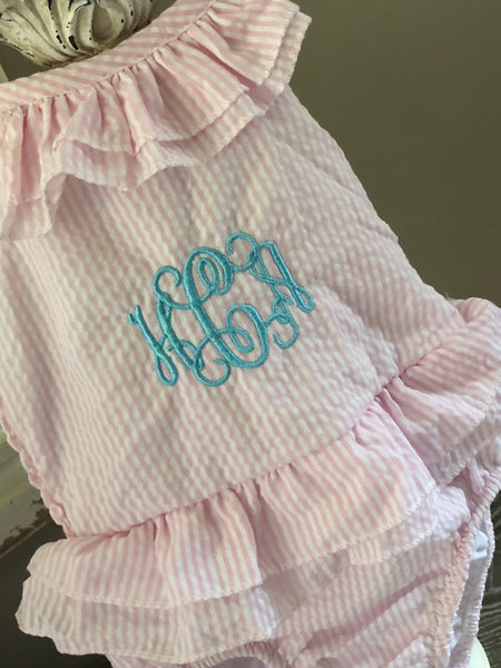 Seersucker Monogrammed Baby Toddler Swimsuit Pink and White