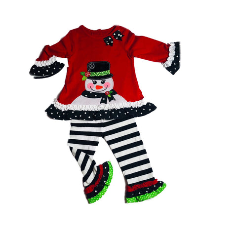 Snowman shirt and ruffle pants outfit