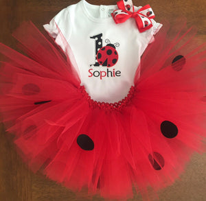Personalized Lady Bug Birthday Shirt and Tutu