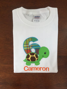 Personalized Turtle Birthday Shirt