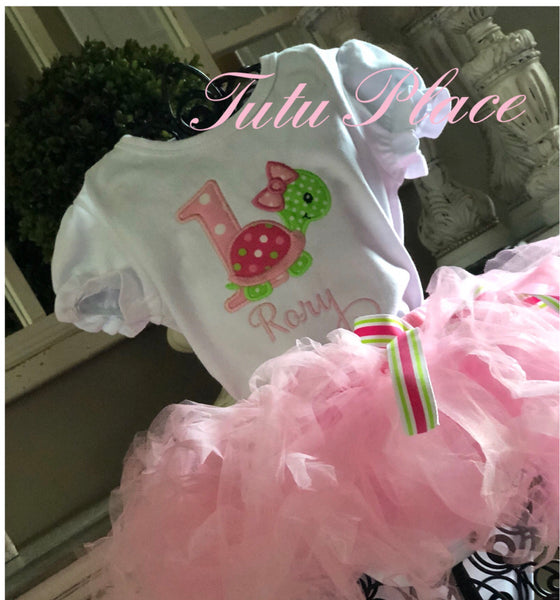 Personalized Turtle Birthday Shirt and Tutu