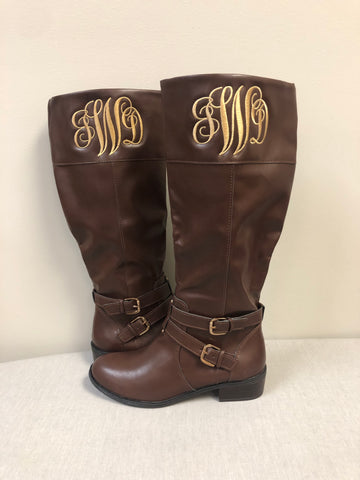 Monogrammed Women's Boots Cognac Brown