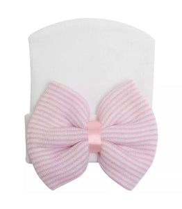 White w/Pink and White Stripe Bow Infant Cap