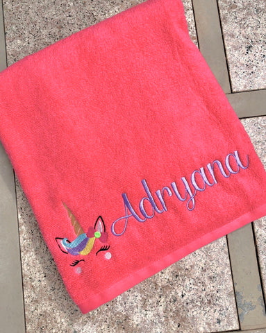 Unicorn Personalized Beach Towel Bath Towel