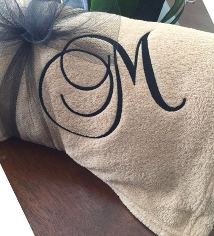 Monogrammed Throw Blanket Single Initial