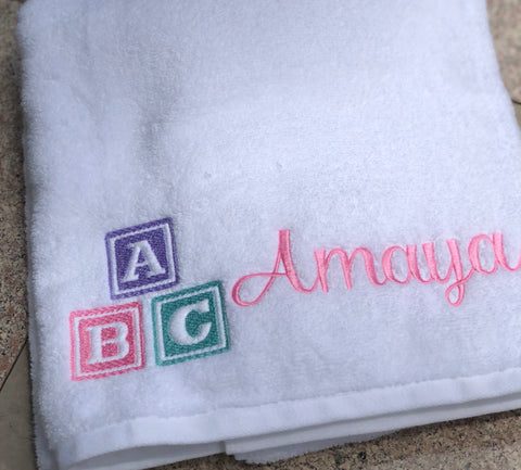 ABC Blocks Personalized Beach Towel Bath Towel